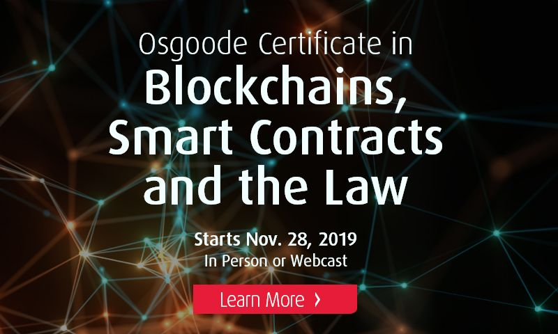 Osgoode Professional Development - Blockchain Certificate