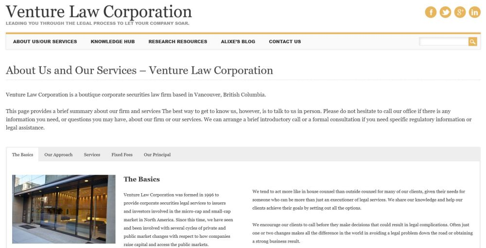 Venture Law corporation - A boutique corporate securities law firm based in Vancouver.